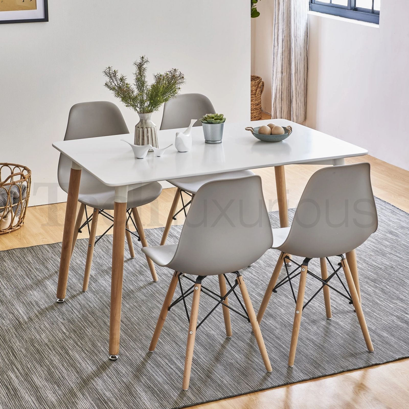 Details about Retro Dining Table and Chairs 4 or 6 Set Wooden Legs Room  Kitchen Lounge Chair