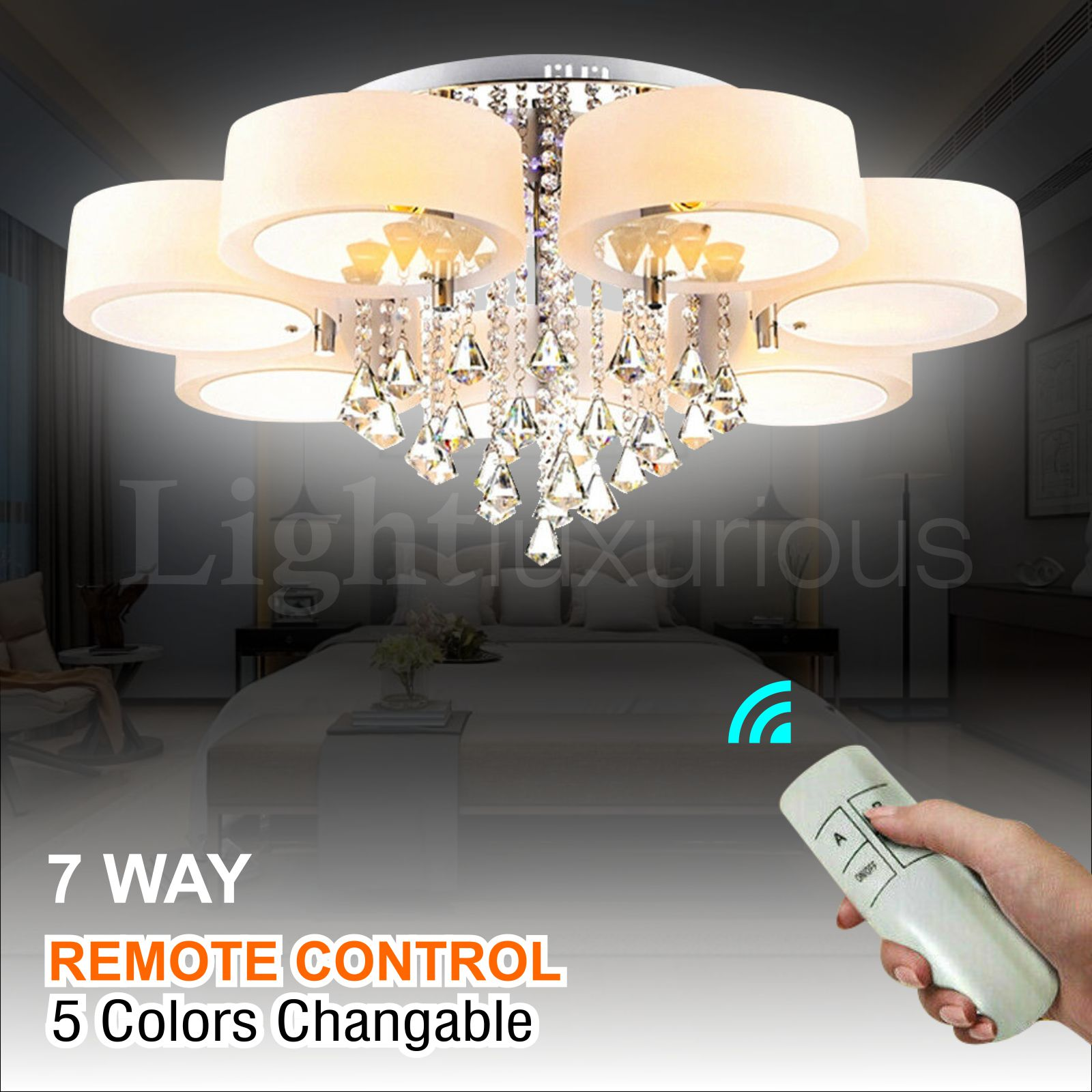 Details about LED Crystal Ceiling Light Chandelier Lamp Kitchen Bed Modern  Living room Lights